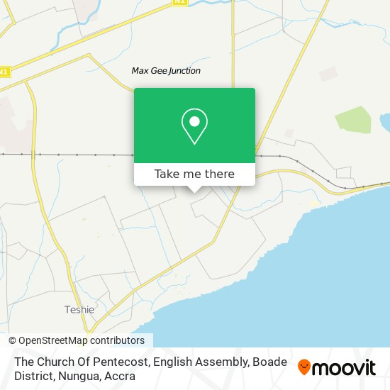 The Church Of Pentecost, English Assembly, Boade District, Nungua map