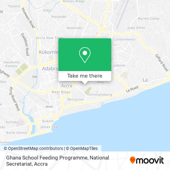 Ghana School Feeding Programme, National Secretariat map
