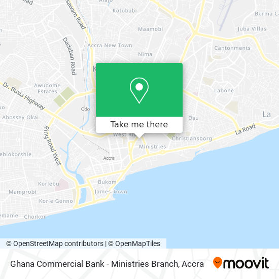 Ghana Commercial Bank - Ministries Branch map
