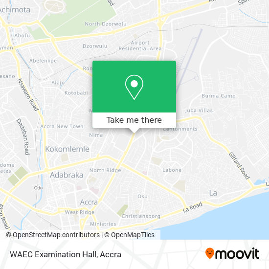 WAEC Examination Hall map