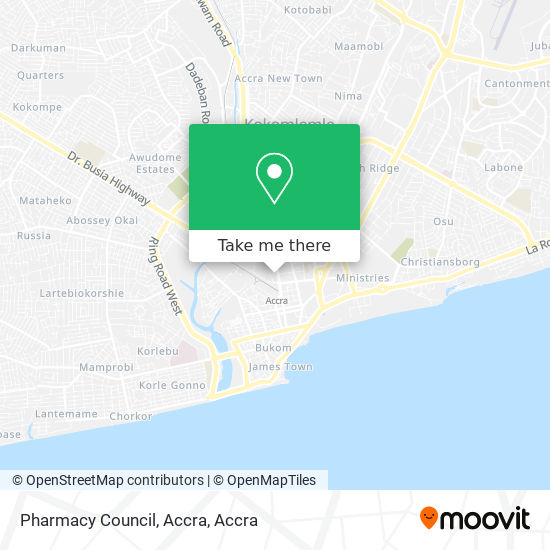Pharmacy Council, Accra map