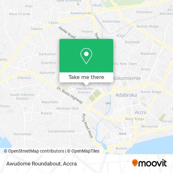Awudome Roundabout map