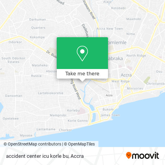 accident center icu korle bu map