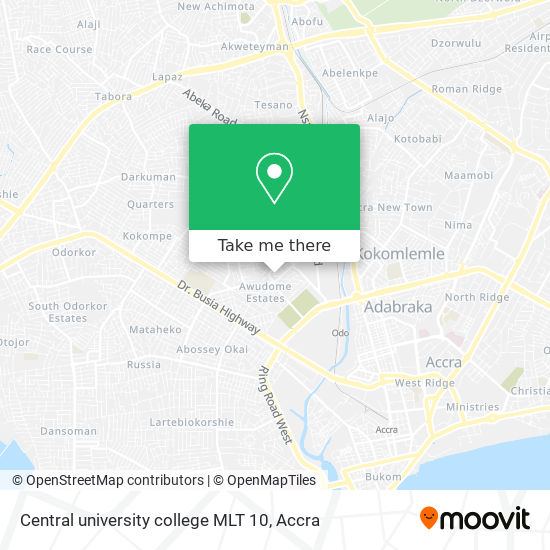 Central university college MLT 10 map