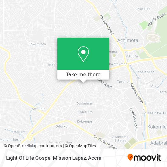 Light Of Life Gospel Mission Lapaz map
