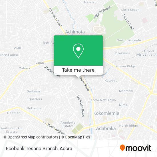 Ecobank Tesano Branch map