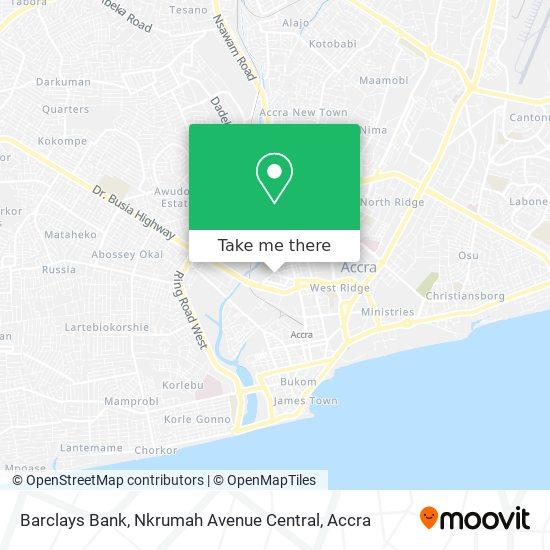 Barclays Bank, Nkrumah Avenue Central map