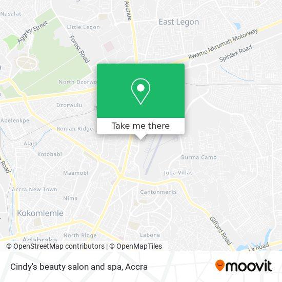 Cindy's beauty salon and spa map