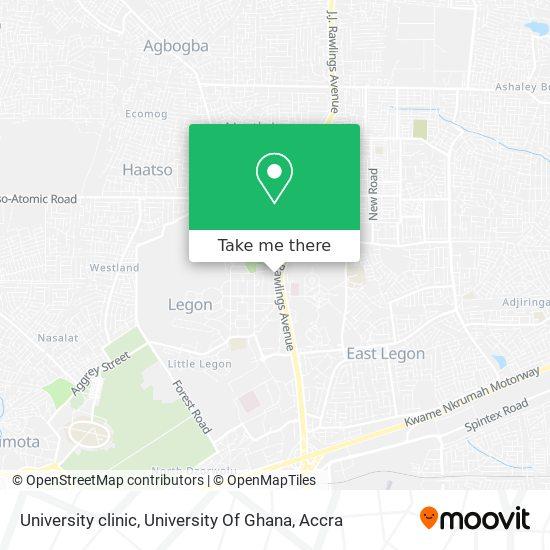 University  clinic, University Of Ghana map