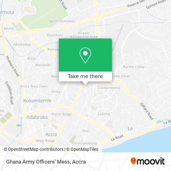 Ghana Army Officers' Mess map