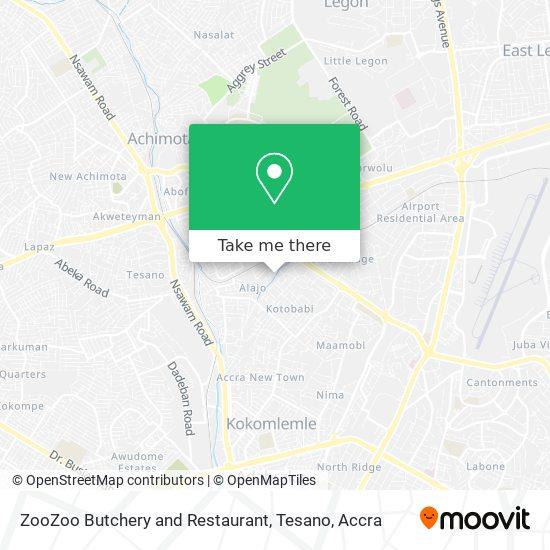 ZooZoo Butchery and Restaurant, Tesano map