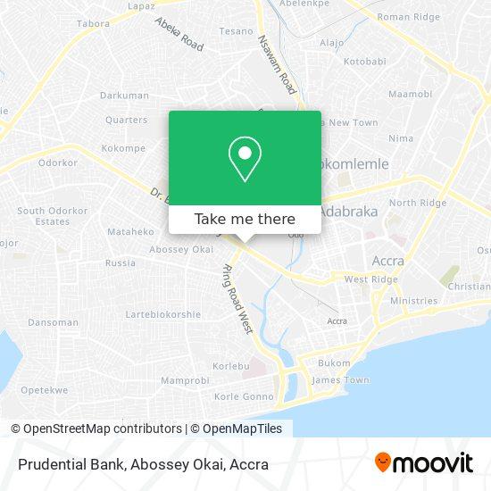 Prudential Bank, Abossey Okai map
