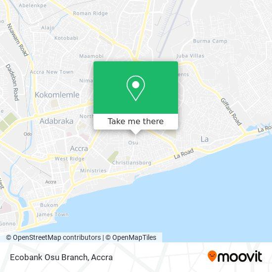 Ecobank Osu Branch map