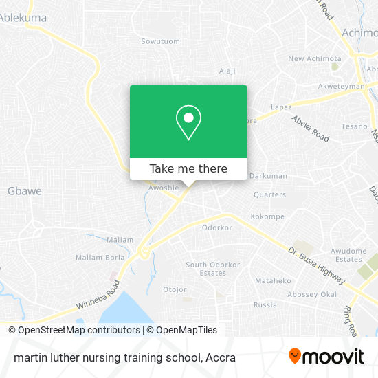martin luther nursing training school map
