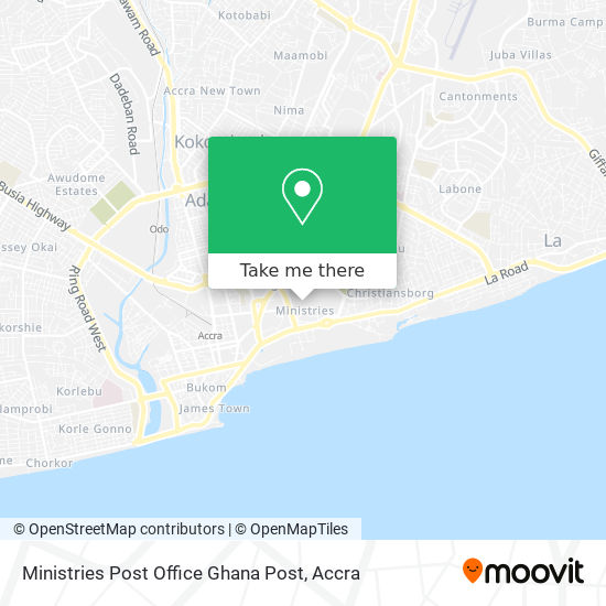 Ministries Post Office Ghana Post map