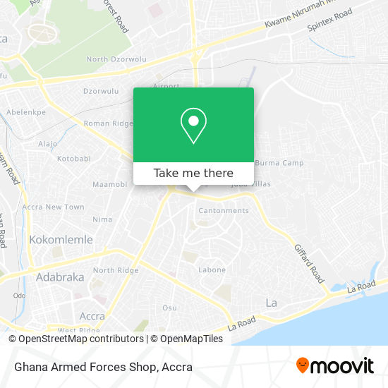 Ghana Armed Forces Shop map