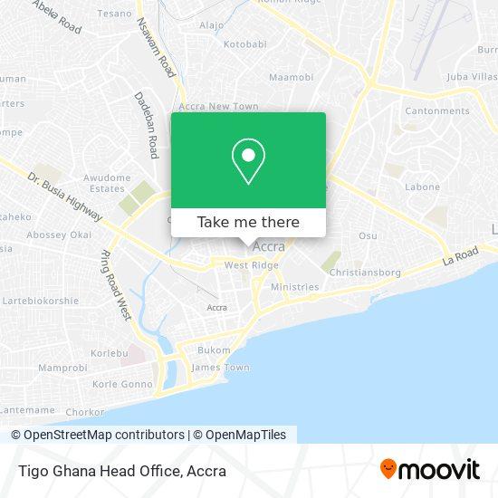 Tigo Ghana Head Office map