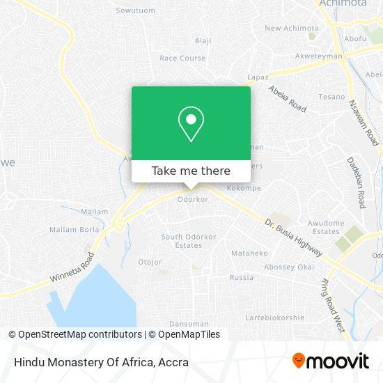 Hindu Monastery Of Africa map