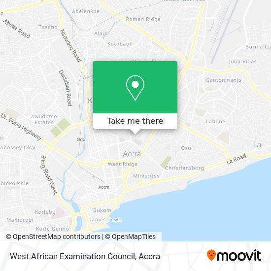 West African Examination Council, Waec map