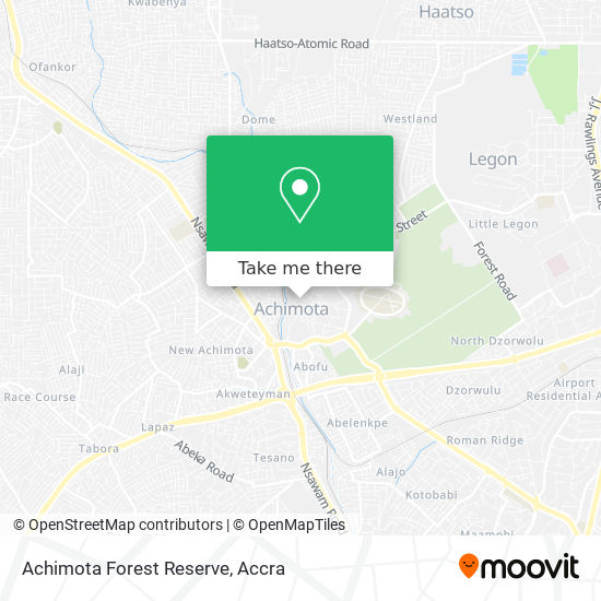 Achimota Forest Reserve map