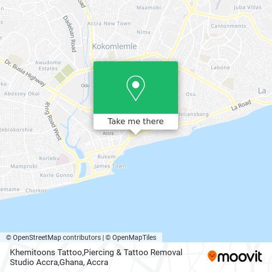 Khemitoons Tattoo,Piercing & Tattoo Removal Studio Accra,Ghana map