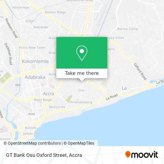 GT Bank Osu Oxford Street map