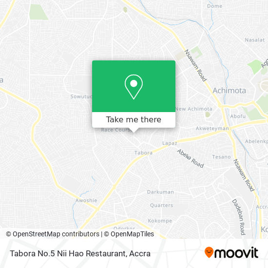 Tabora No.5 Nii Hao Restaurant map