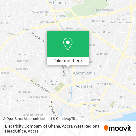 Electricity Company of Ghana, Accra West Regional HeadOffice map