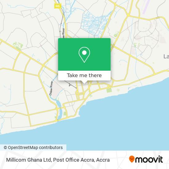 Millicom Ghana Ltd, Post Office Accra map