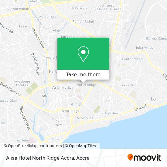 Alisa Hotel North Ridge Accra map