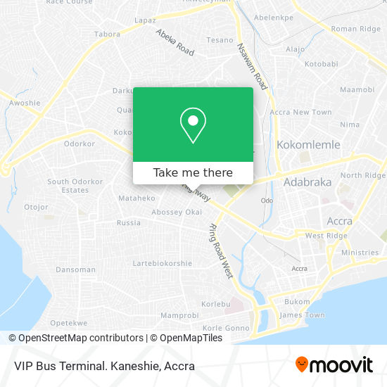 VIP Bus Terminal. Kaneshie map