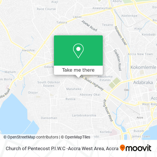 Church of Pentecost P.I.W.C -Accra West Area map
