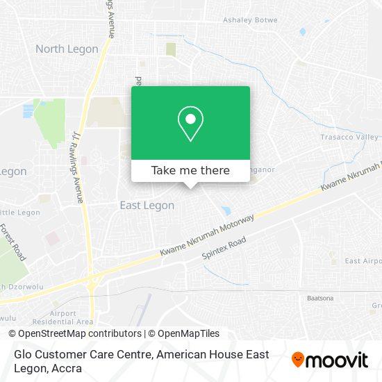 Glo Customer Care Centre, American House East Legon map