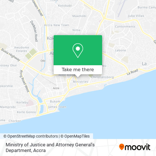 Ministry of Justice and Attorney General's Department map