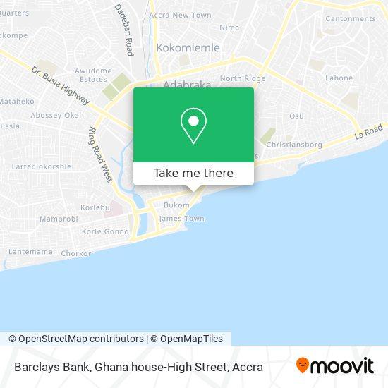 Barclays Bank, Ghana house-High Street map