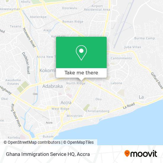 Ghana Immigration Service HQ map