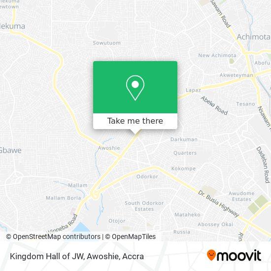 Kingdom Hall of JW, Awoshie map