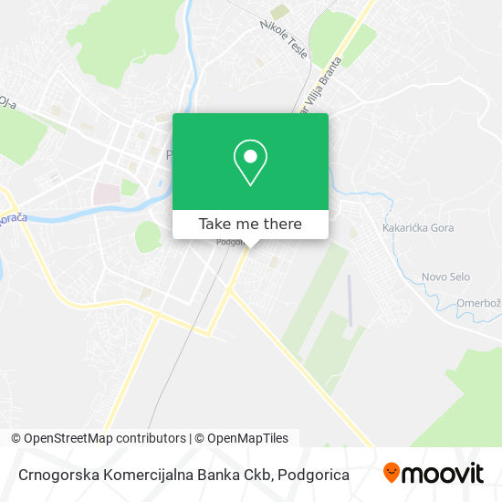 Crnogorska Komercijalna Banka Ckb map
