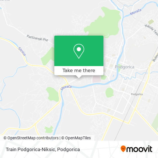 Train Podgorica-Niksic map