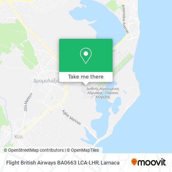 Flight British Airways BA0663 LCA-LHR χάρτης