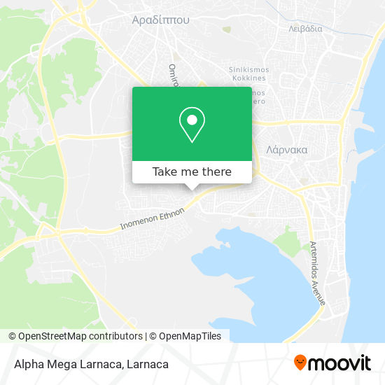 Alpha Mega Larnaca χάρτης