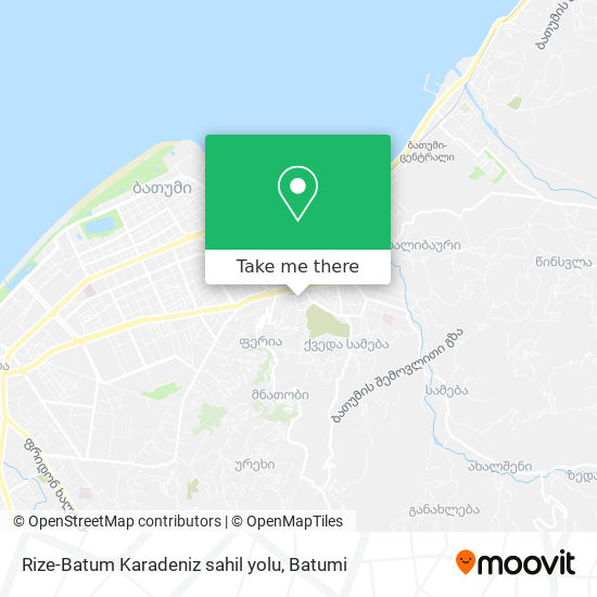 Rize-Batum Karadeniz sahil yolu map