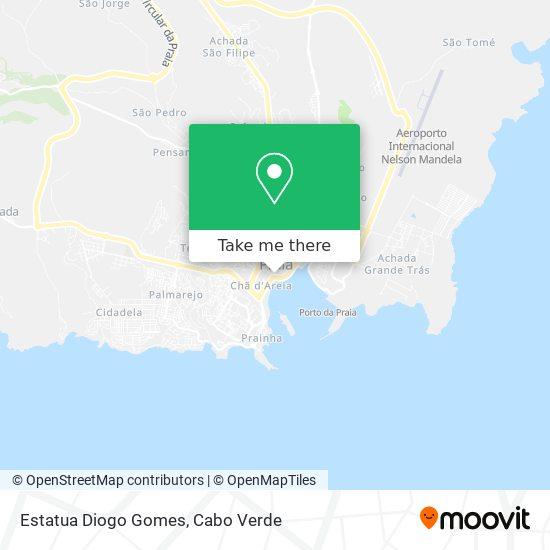 Estatua Diogo Gomes mapa