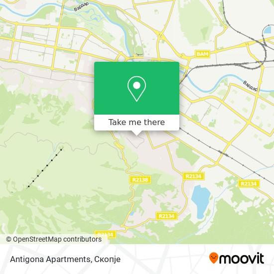Antigona Apartments map