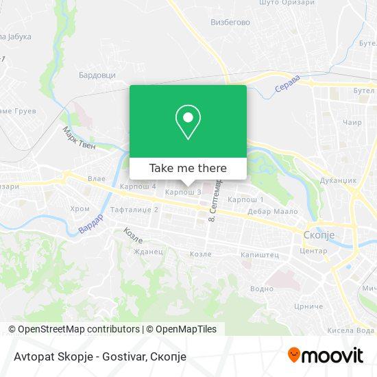 Avtopat Skopje - Gostivar map