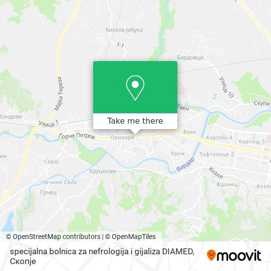 specijalna bolnica za nefrologija i gijaliza DIAMED map