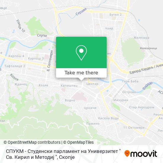 "СПУКМ - Студенски парламент на Универзитет "" Св. Кирил и Методиј "" map"