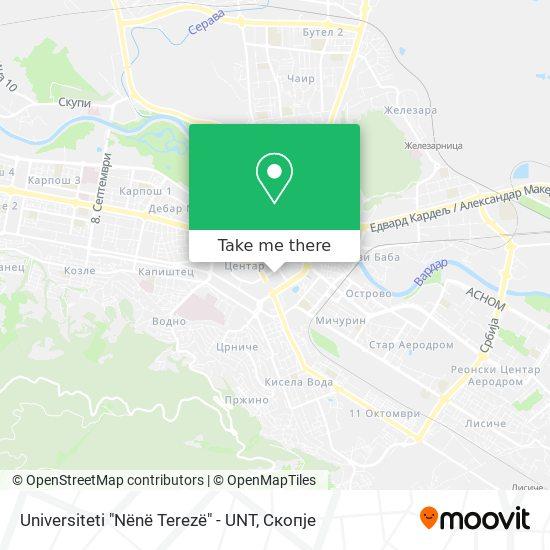 """Universiteti """"Nënë Terezë"""" - UNT map"""