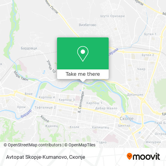 Avtopat Skopje-Kumanovo map