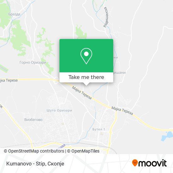 Kumanovo - Stip map